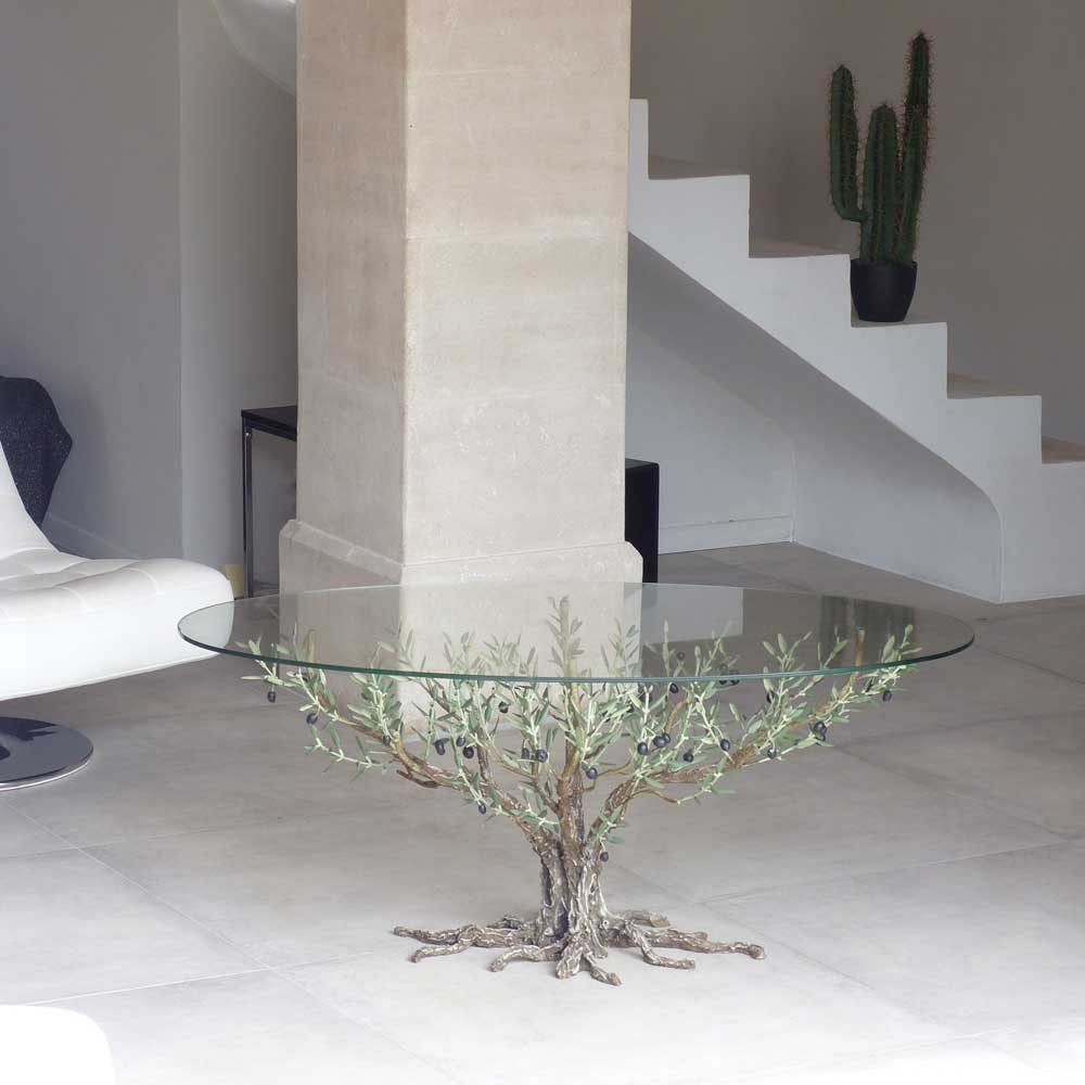 vitrine-fetes-l'olivier-forge-joel-rebiere-table-verre-fer-forge