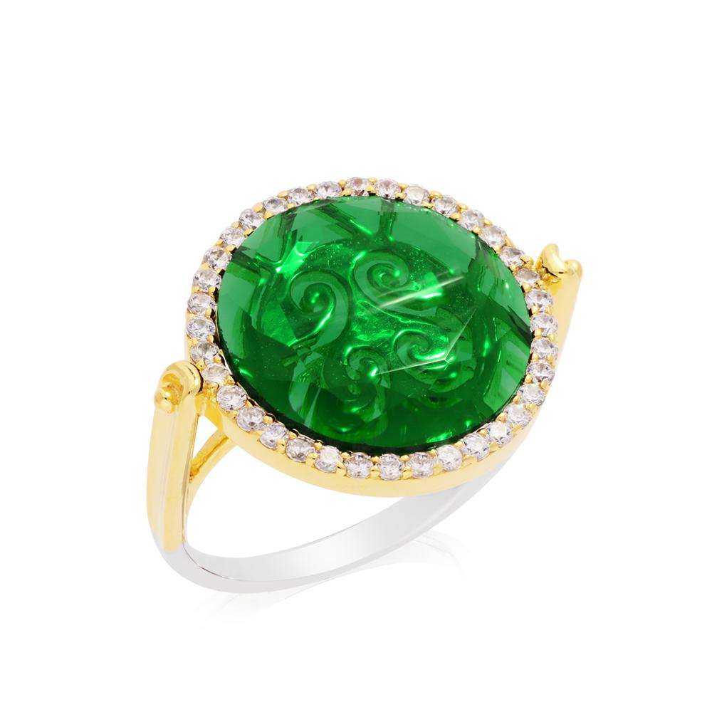 cadeaux-fete-meres-orus-bijoux-Bague-disque-sertie-Or+Pierre-verte