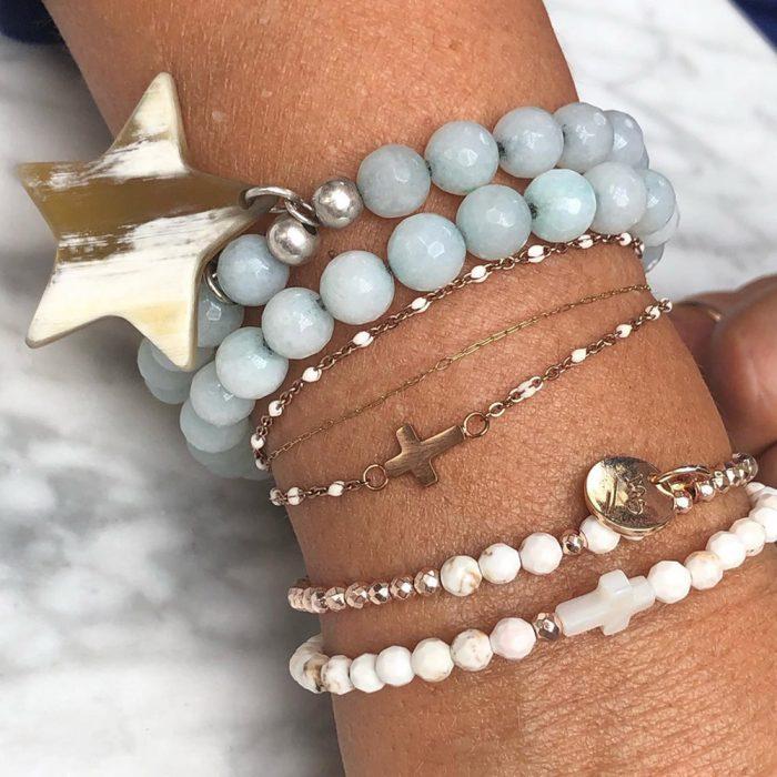 L.A-Soul-Bijoux-Bracelet-en-aigue-marine-double,-étoile-en-corne