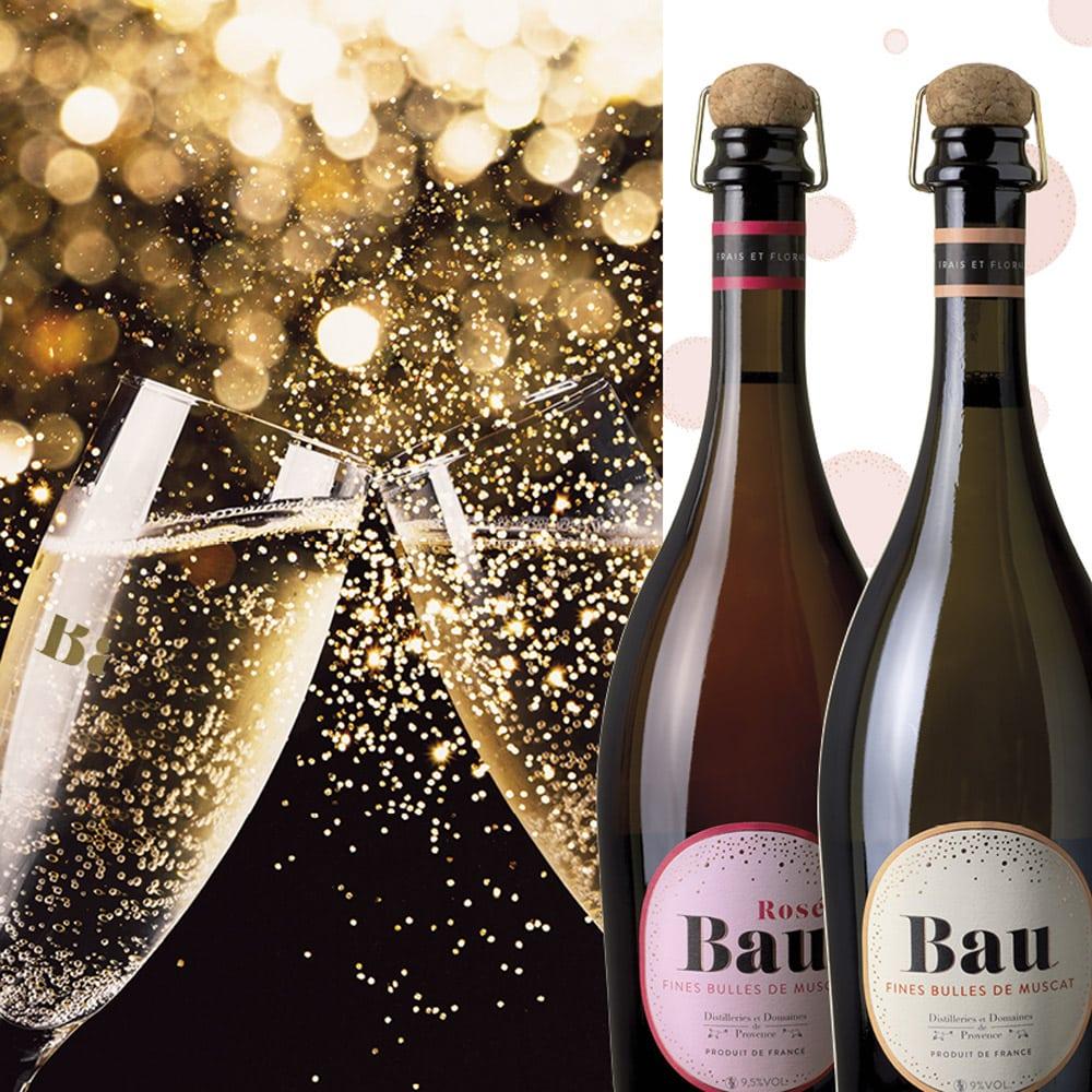 Vins-terroir-repas-de-fetes-Bau-fine-bulles-de-muscat-distilleries-de-Provence-flutes-et-bouteilles