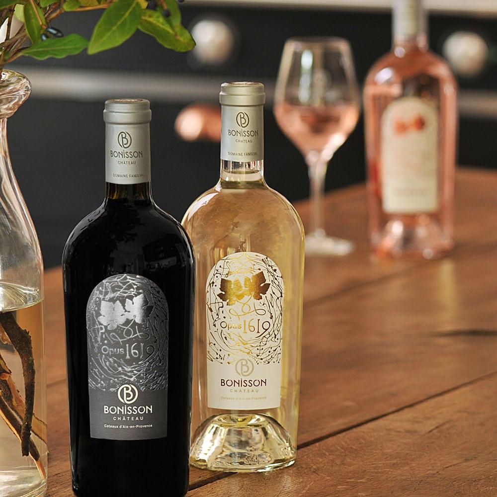 Vins-terroir-repas-de-fetes-Chateau-Bonisson-Opus-1619-Rouge-et-Blanc-+-rose