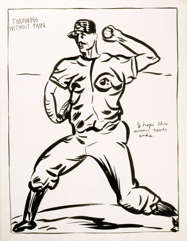 artmontecarlo-selected-statements-Courtesy-of-Blondeau-and-Cie,-Raymond-Pettibon,-No-title-(Throwing-without-pain)