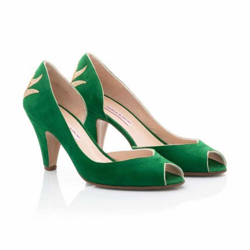concept-stores-fete-des-meres-Muse-Collection-Toulon-Patricia-Blanchet-escarpins-Saul-bout-ouvert-nubuck-vert-menthe-glitter-dore