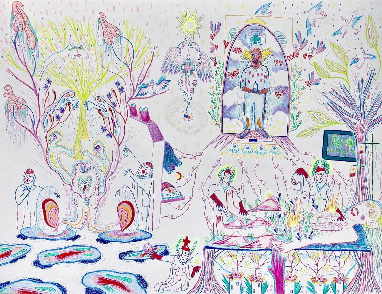 Villa-Noailles-Hyeres-Valentin-Ranger,-L'hôpital,-crayon-de-couleur-et-pastels,-50x75-cm,-2020