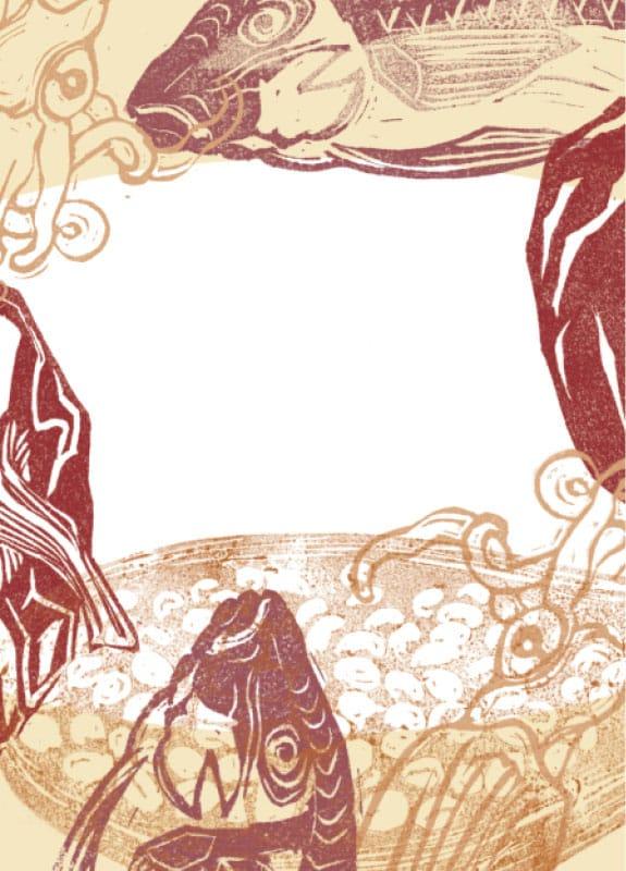 grand-mezze mucem illustrations recette Arroz a banda paella minimaliste